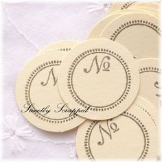 Number Flat Tags.... 1 Inch Circle No by SweetlyScrappedArt