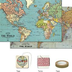 Cavallini Vintage Maps Gift Wrap Pack