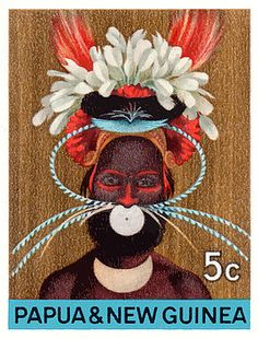1968 Papua New Guinea Headress 5c Postage Stamp,papua,guinea,oceania,headdress,native,paradise,vintage,postage,stamp,mail,ephemera,island,costume,feathers,tribe,tribal,jungle,festival,ceremonial