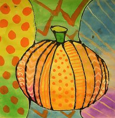 The 4th-6th grade claases created these brightly colored pumpkins just in time for fall! We began by learning about the origins of p...