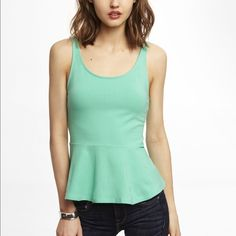 Peplum Tank Top • Peplum Tank Top • Brand: Express • Color: Mint Green • Size: Small • Item is 100% authentic.  • No PayPal  • No Mercari  • No low-ball offers  • Open to trades   Super cute, very stretchy peplum tank top.  Worn once, but this style just doesn't look good on me.  Paid $30, asking $20 (that's $10 off retail price)   Express Tops Tank Tops
