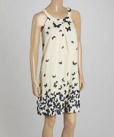 Love this White & Navy Butterfly Yoke Dress - Women on #zulily! #zulilyfinds