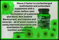 Plexus X-Factor Turbo Multivitamin Delivers several B vitamins, vitamins D, C and E, the antioxidant protection of New Zealand Blackcurrants, and the impressive nutrient profile of Aloe Oxygenates the body, safeguarding against damaged/dysfunctional cells Provides super-potent antioxidant protection Delivers support for whole-body wellness Supports the body's functions, processes and systems Super-charges the body's various immune activities