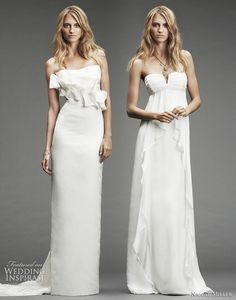 Nicole Miller wedding dressess 2010 Fall/Winter bridal collection - silk strapless gown with front ruffle detail and train; silk chiffon strapless gown with empire waist and front draping