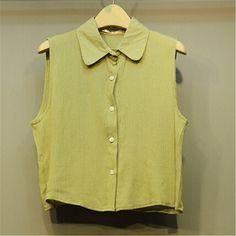 Summer New Small Fresh Retro Shirt Lapel Short Paragraph Sleeveless Shirt And ComfortableYellow YH15041823.http://www.clothing-dropship.com