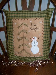 Snowman  Pillow Primitive Decor Home Rustic Country by wvluckygirl, $15.49