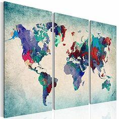 XXL Format Bilder & Kunstdrucke Prestigeart, 1051339a Weltkarte Bild auf Leinwand, Coloured World, 120 x 80 cm, Fertig Aufgespannt 3 Teile Wandbild: Amazon.de: Küche & Haushalt