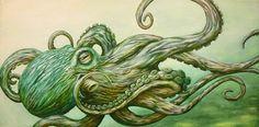 Octopus by Jon Hoffman Green Tentacles Tattoo Artwork Canvas Art Print
