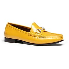 Gucci 1953 Loafer in Yellow Patent Leather (870 CAD) ❤ liked on Polyvore featuring shoes, loafers, flats, gucci, gucci flats, gucci shoes, flat pumps and patent shoes