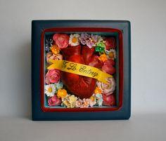 Love Shrine- Mexican Folk Art- Heart / Corazon- Valentine's Gift -  Shadowbox. $70.00, via Etsy.