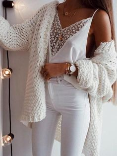 Chellysun White Chunky Casual Cardigan Sweater knits outfits for fall and winter boyfriend style for women White Jeans outfit Spring outfits summer outfits school Fashion Mode, Look Fashion, Winter Fashion, Ladies Fashion, Feminine Fashion, Fashion Spring, Classy Womens Fashion, Fashion Usa, Fashion Stores
