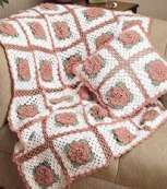 Rose Trellis Afghan and Pillow - free PDF, located at webarchive org (Way Back Machine)