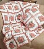 Rose Trellis  Afghan & Pillow