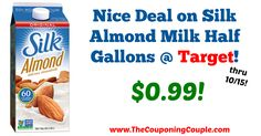 Great savings!! Don't miss out if your family drinks almond milk! Nice Deal on Silk Almond Milk Half Gallons @ Target!  Click the link below to get all of the details ► http://www.thecouponingcouple.com/nice-deal-on-silk-almond-milk-half-gallons-target/ #Coupons #Couponing #CouponCommunity  Visit us at http://www.thecouponingcouple.com for more great posts!