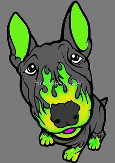 Custom Hot Rod Bull Terrier Lime Green
