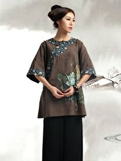 Women's Cotton Linen Brown Half-sleeve Round collar Hand-painted Tang Cheongsam Blouse