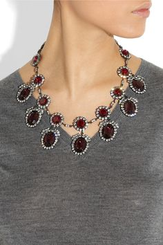 Kenneth Jay Lane|Gunmetal-plated crystal necklace|NET-A-PORTER.COM