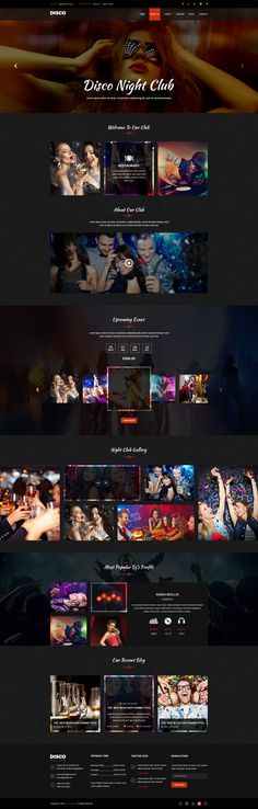 Disco Night Club - PSD Template #psd #party #dj • Download ➝ https://themeforest.net/item/disco-night-club-psd-template/18886072?ref=pxcr