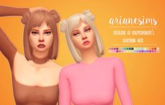 CRAZYCUPCAKEFR's short buns hair recolour by arianesims