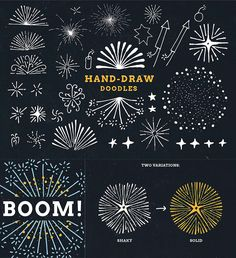 Fireworks craft design Firework doodles and illustrations sketches vector set How To Draw Fireworks, Fireworks Craft For Kids, Fireworks Art, Illustration Vector, Free Illustrations, The Birth Of Christ, Usa Tumblr, Chalkboard Art, Journaling