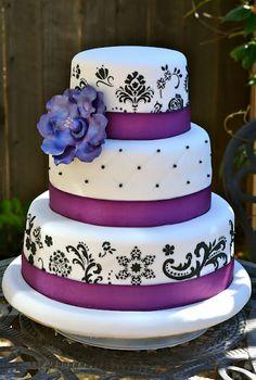 Purple, white, and black damask Wedding Cake.