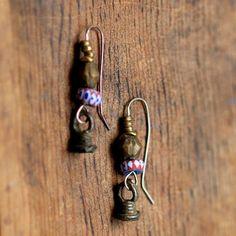 Awali earrings -  sterling, brass, bronze, glass... by Mark Kaplan