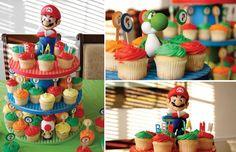 Super Mario birthday party dessert cupcakes