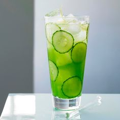 Cucumber Fizz       2 oz Cucumber, peeled and roughly chopped      1.5 oz Grey Goose La Poire Flavored Vodka      .5 oz St-Germain      .5 oz Lemon juice      .5 oz Simple syrup (one part sugar, one part water)      Lemonade or club soda    Garnish: Mint, cucumber slices and lemon zest    Glass: Highball