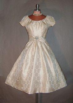Vintage Ivory Brocade Dress