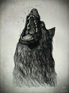 by Richey Beckett [Illustration - Wolf] Der Steppenwolf, Wolf Sketch, Sketch Drawing, Angry Wolf, Arte Horror, Wolf Tattoos, Tatoos, Dark Art, Amazing Art