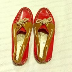 Sperry Top-Sider - sz 8.5 Red patent leather with brown leather trim. Signs of wear.  Very comfortable and cute. Sperry Top-Sider Shoes Flats & Loafers