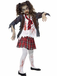 Girl's Zombie School Costume! See more #costume ideas for Halloween and more at CostumeSuperCenter.com