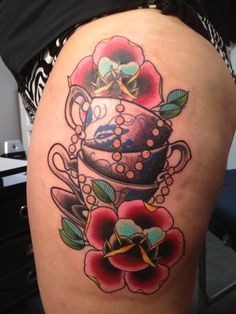 New tea cup tattoo for my Nan, Nanny & Great Aunt - each cup was one of my favorites from their collections