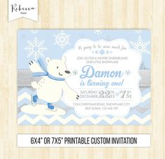 polar bear invitation winter onederland birthday invitation blue and silver winter boy invitation Christmas ice skating invitation printable by RebeccaDesigns22