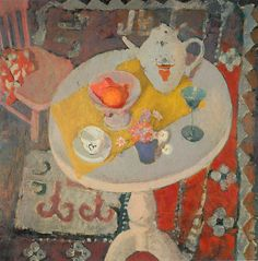 anne redpath    still life with teapot on round table, 1945