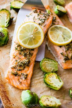 Baked Lemon Herb Salmon-- simple, flavorful, 330 calorie salmon dinner made in only 30 minutes.