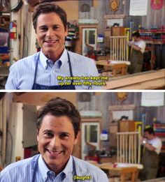 Chris Traeger is the most and least relatable person? Parks And Rec Quotes, Tv Quotes, Movie Quotes, Parcs And Rec, Chris Traeger, Erich Von Stroheim, Leslie Knope, This Is Your Life, Parks And Recreation