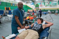 First-time donor Jacob Tackett, a sophomore. — at Northmont High School.