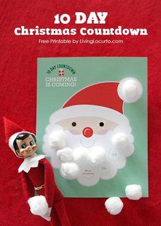 10 Day Christmas Countdown Free Printable | LivingLocurto.com