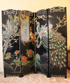 chinese screens room dividers | Panel Chinese Lacquer Screen Room Divider |  eBay