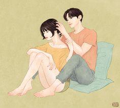 16張證明「真愛裡有點情慾」的唯美甜蜜情侶日常插畫。% 照片