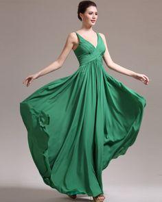 osell wholesale dropship Chiffon Pleated V Neck Sleeveless Floor Length A Line Evening Prom Dress $69.33