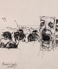 Bernie Leahy - Stiched drawings, 2008. (Leahy creates large 'stitched drawings' using a combination of hand and machine stitching, applied directly to the unmarked canvas.)