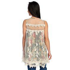 85849270ec4 Indigo Thread Co.™ Printed Chiffon & Embroidered Mesh Sleeveless Layered  Tunic