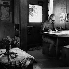 Brassaï, Le Corbusier en su Cabanon (1952). Cap-Martin, Le Corbusier.