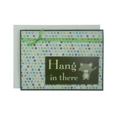 Hang in there Cat Greeting Card Funny Cat Card Cheer Up Cat Lover Gift Blank Card Cat Gift Blank Cards Colorful Polka Dots