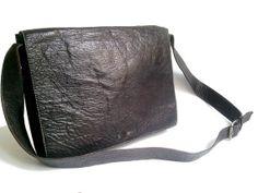 MESSENGER LEATHER BAG black by lesclodettes on Etsy, $49.00