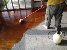 stained concrete screen porch, flooring, outdoor living, porches, during staining sealed after