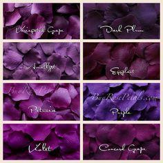 Purple Rose Petals in 14 Shades, Purple Silk Rose Petals, Fake ...