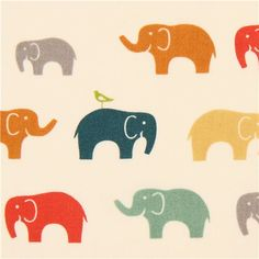 colourful elephant organic fabric by birch from the USA
